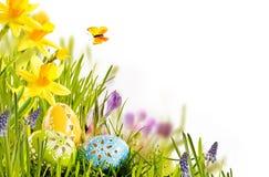 Projeto de cartão fresco da Páscoa da mola com ovos Imagem de Stock Royalty Free