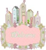 Projeto de cartão home doce Ilustração do vetor Fotos de Stock Royalty Free