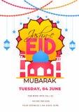 Projeto de cartão liso do convite do estilo com detalhes da ilustração e do local de encontro da mesquita para Jashn-E-Eid Mubara ilustração royalty free