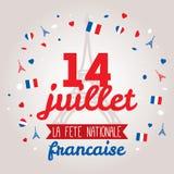 Projeto de cartão para Bastille dia o 14 de julho Fotografia de Stock Royalty Free