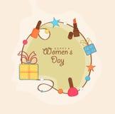 Projeto de cartão para a celebração do dia das mulheres felizes Imagens de Stock