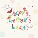 Projeto de cartão para a celebração do dia das mulheres felizes Imagem de Stock Royalty Free