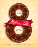 Projeto de cartão para o dia de mães Projeto de cartão feliz do dia de mães com chocolate e a fita cor-de-rosa Vetor ilustração stock