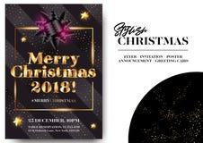 Projeto de cartão preto à moda do Feliz Natal 2018 Fotos de Stock Royalty Free