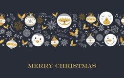 Projeto de cartão retro bonito da decoração do Feliz Natal Imagem de Stock