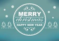 Projeto de cartão retro do Natal com fundo ciano e branco Foto de Stock Royalty Free