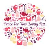 Projeto de cartão romântico com espaço para o texto Fotos de Stock