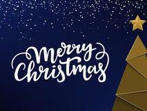 Projeto de cartão tipográfico do Natal Árvore e estrela dourada de Ney Year, rotulação do Xmas e fundo azul e frio do snowon ilustração royalty free