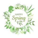 Projeto de cartão verde feliz da mola com texto no quadro floral redondo Imagens de Stock Royalty Free