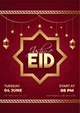 Projeto de cart?o vermelho do molde ou do convite com detalhes do evento para a celebra??o de Jashan-E-Eid ilustração do vetor