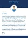 Projeto de carta de apresentação com cores brancas azuis ilustração royalty free