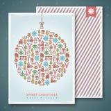 Projeto de cartões do Natal Ilustração do vetor Cumprimentos do ano novo Fotografia de Stock