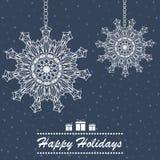 Projeto de cartão decorativo dos feriados dos flocos de neve Imagem de Stock
