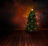 Projeto de Chritmas - árvore de Natal da noite Imagem de Stock