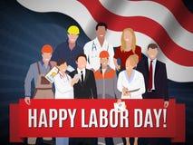 Projeto de conceito americano da bandeira do Dia do Trabalhador feliz, ilustração do vetor Foto de Stock