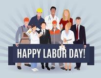 Projeto de conceito americano da bandeira do Dia do Trabalhador feliz, ilustração do vetor Fotos de Stock Royalty Free