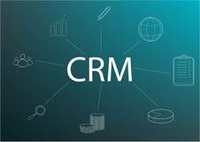 Projeto de conceito de CRM com elementos do vetor ?cones lisos do sistema de contabilidade, gr?ficos, clientes, apoio, neg?cio or ilustração do vetor