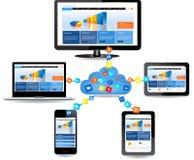 Projeto de conceito de computação da nuvem Fotografia de Stock