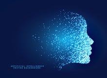 projeto de conceito digital da cara da partícula para inteligente artificial ilustração royalty free