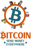 Projeto de conceito do logotipo de Bitcoin Fotografia de Stock Royalty Free