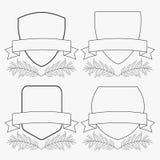 Projeto de conceito do quadro dos crachás preto e branco ilustração royalty free