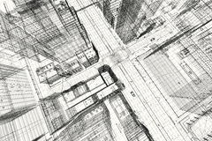 Projeto de construções da cidade, cópia do wireframe 3d, plano urbano Arquitetura Fotografia de Stock
