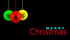 Projeto de cumprimento do texto da bola do Feliz Natal e do Natal no ícone colorido ouro no fundo preto abstrato ilustração royalty free