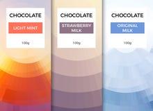 Projeto de empacotamento do molde da barra de chocolate Teste padr?o de marcagem com ferro quente do produto do chocolate Pacote  fotografia de stock
