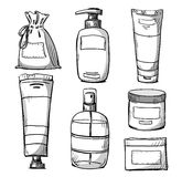 Projeto de empacotamento Empacotamento dos cosméticos Foto de Stock Royalty Free