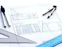 Projeto de engenharia e modelo Imagens de Stock