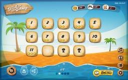 Projeto de interface de utilizador do jogo da ilha de deserto para a tabela Foto de Stock