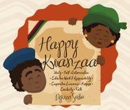 Projeto de Kwanzaa com os pares que guardam o rolo com os sete princípios, ilustração do vetor ilustração stock