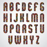 Projeto de letras condensado corajoso na moda do alfabeto decorado com bea Fotografia de Stock Royalty Free