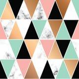 Projeto de mármore com formas geométricas, superfície marmoreando preto e branco da textura do vetor, fundo luxuoso moderno Fotos de Stock
