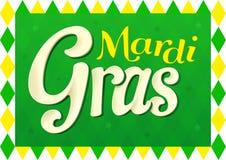 Projeto de Mardi Gras para quinta-feira gorda com cores verdes ilustração stock