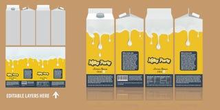 Projeto de pacote de marcagem com ferro quente do vetor Molde leitoso do projeto da caixa do pacote do chocolate Projeto de pacot ilustração royalty free