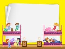 Projeto de papel com as crianças no bunkbed Fotos de Stock