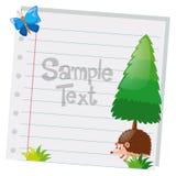 Projeto de papel com pinheiro e ouriço Imagens de Stock