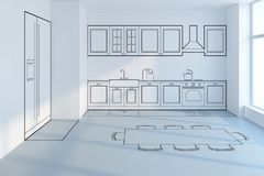 Projeto de planeamento da cozinha Fotos de Stock