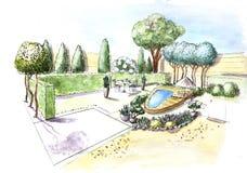 Projeto de plano da arquitetura paisagística no pátio para a casa de campo Projeto de design da paisagem ilustração royalty free