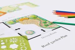Projeto de plano da casa do jardim do balcão Imagem de Stock
