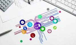 Projeto de relação para o móbil e a aplicação web Foto de Stock Royalty Free
