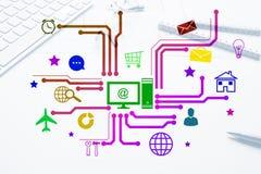 Projeto de relação para o móbil e a aplicação web Fotos de Stock