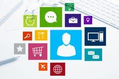 Projeto de relação para o móbil e a aplicação web Fotografia de Stock
