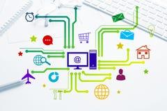 Projeto de relação para o móbil e a aplicação web Fotografia de Stock Royalty Free