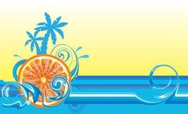 Projeto de roda da onda com laranja ilustração do vetor