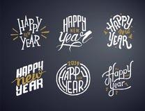 Projeto de rotulação caligráfico do texto do vetor do ano novo feliz ilustração royalty free