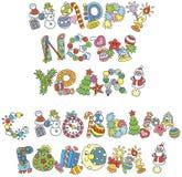 Projeto de rotulação de cumprimentos do ano novo feliz ilustração royalty free