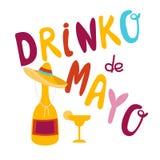 Projeto de rotulação da bandeira de Drinko De Mayo Ilustração Stock