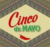 Projeto de rotulação de Cinco De Mayo em uma origem étnica Imagens de Stock